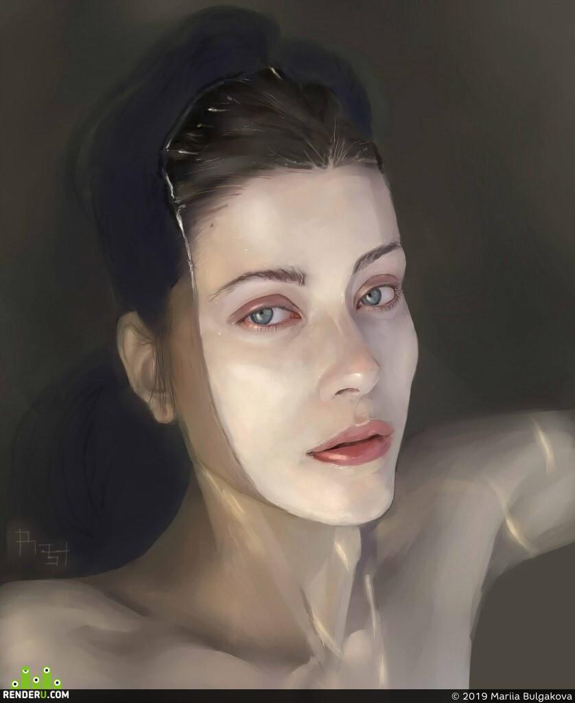 digital portrait, girlportrait, 2dart, Digital 2D, 2D art, study