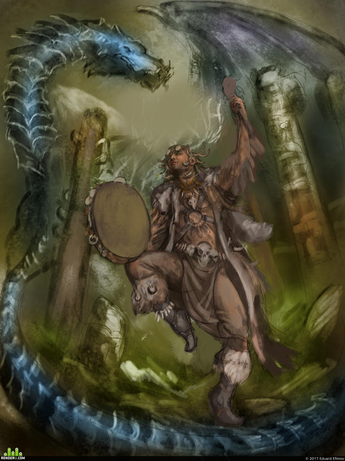 illustration, sg, ediktart, edikt, art, dragon, shaman, soul, spirit