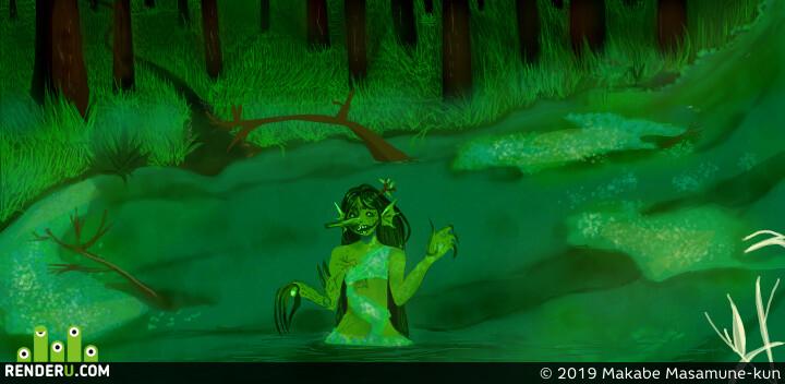 Кикимор, болото, лес, мрачность, мифическое существо, зло, зелёнка