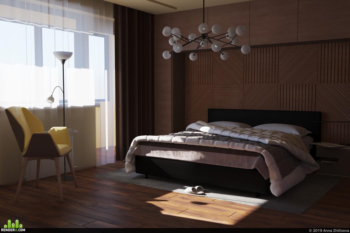 дизайн спальни, Спальня, интерьер спальни, утро, дерево, паркет, 3д панели