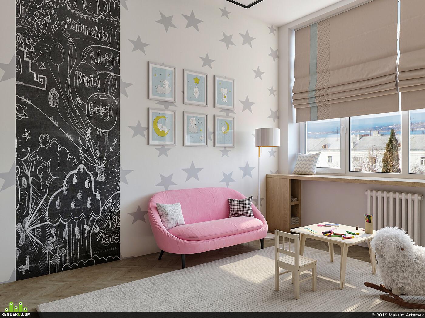детская, детская комната, Интерьер Детская, дизайн, дизайн интерьера, интерьер, визуализация, архитектура, интерьер, корона, дизайнинтерьера, Интерьерная визуализация, визуализация интерьеров