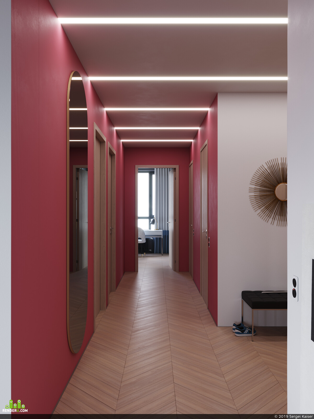 дизайн интерьера, 3д визуализация интерьера, гостиная, Столовая группа, паркет, Спальня