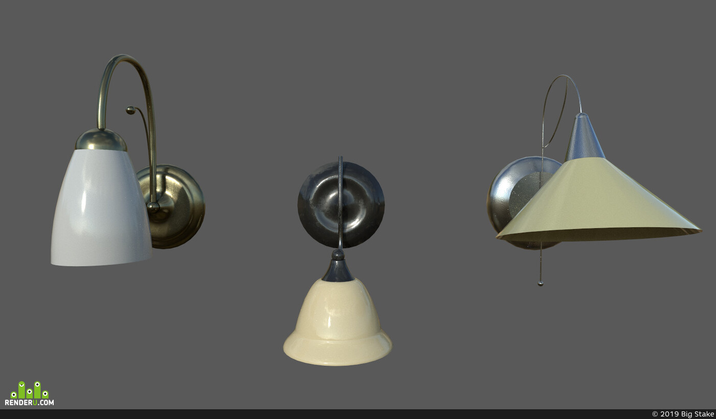 Lamp, lights, bronze, metallic, scone, glossiness, old-metal, substancepainter, light