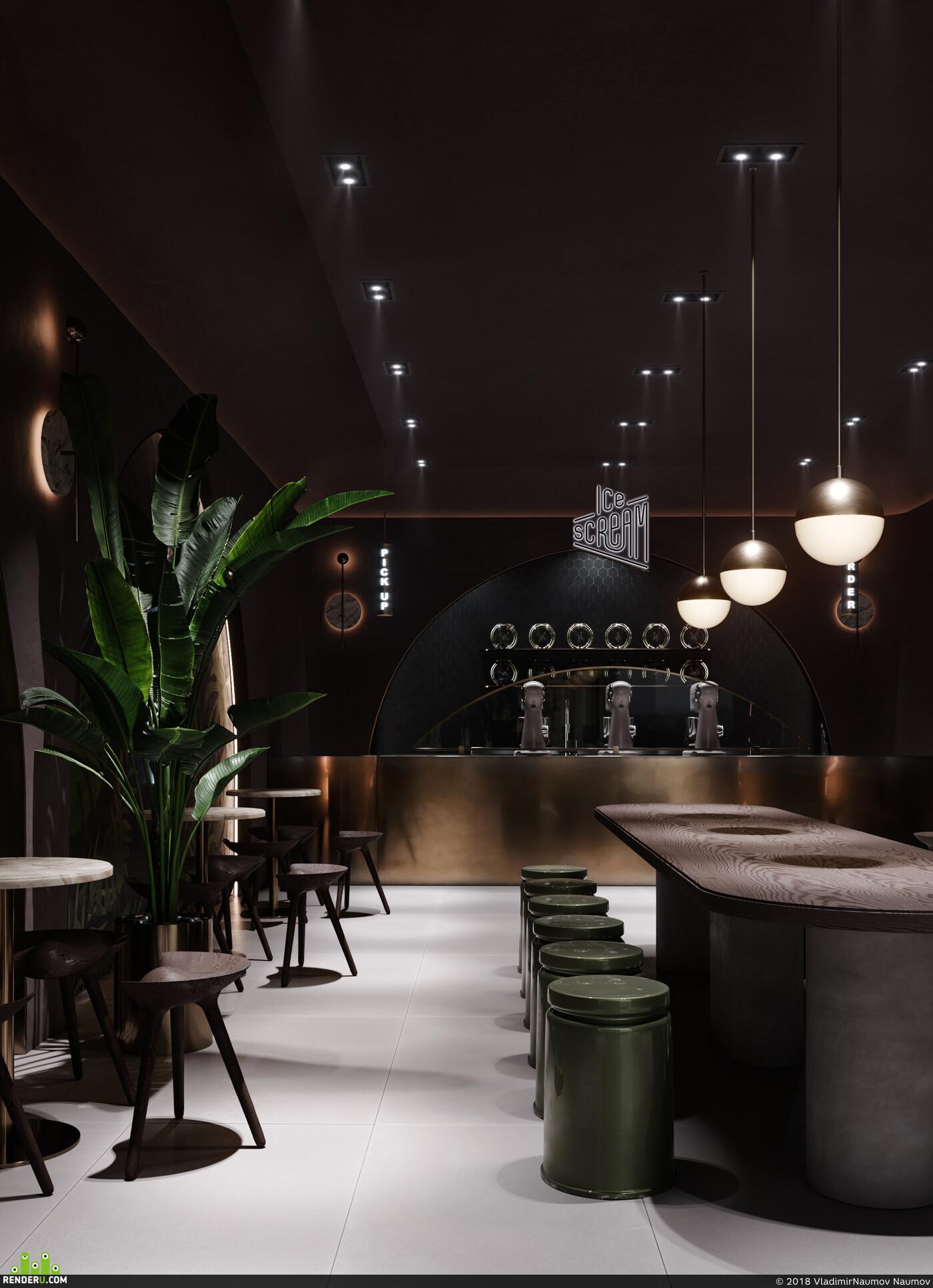 interior design, cafe, restaurant, architect, ice cream