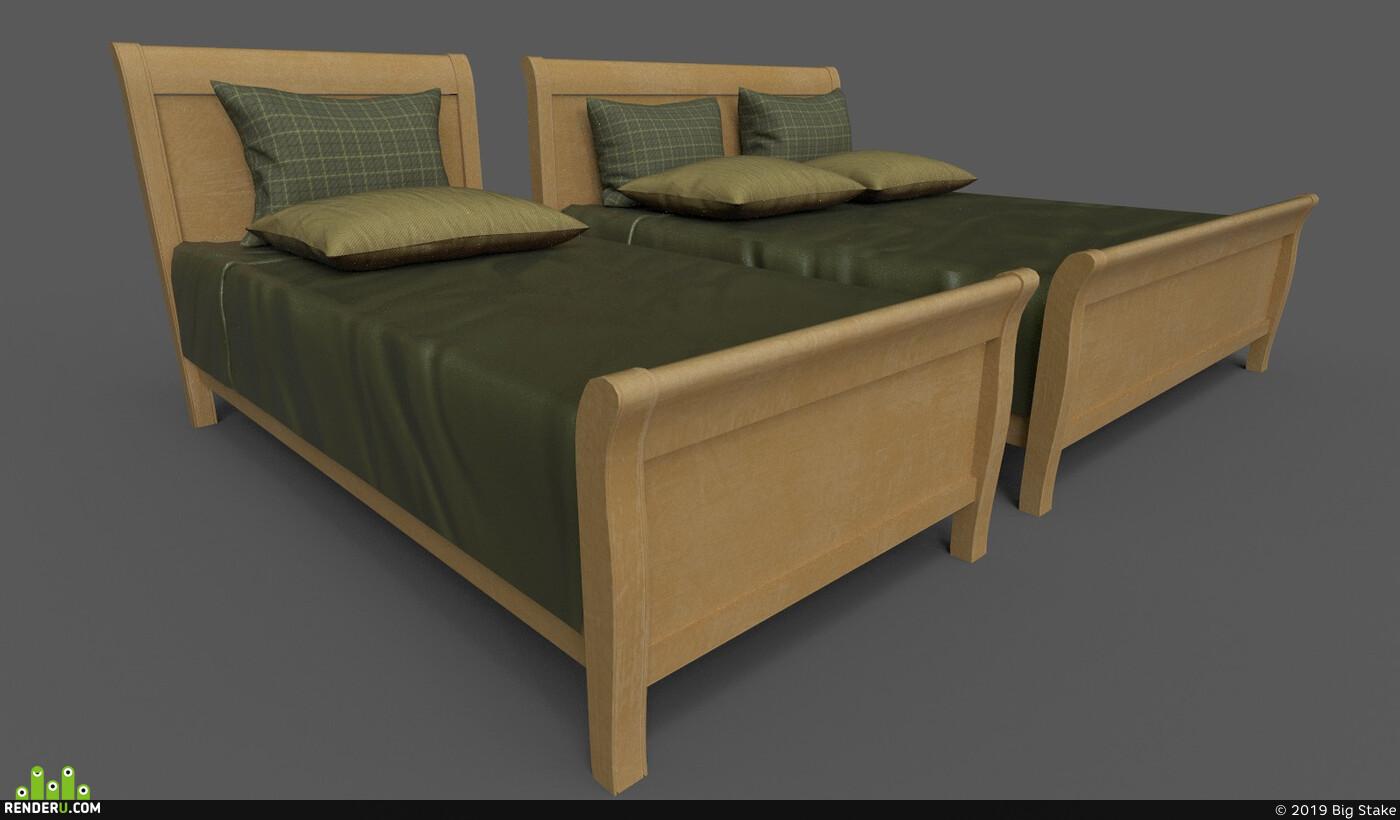 wooden, bed, bedroom, Vray, fabric, UnrealEngine, substancepainter, Unity, wood, interior