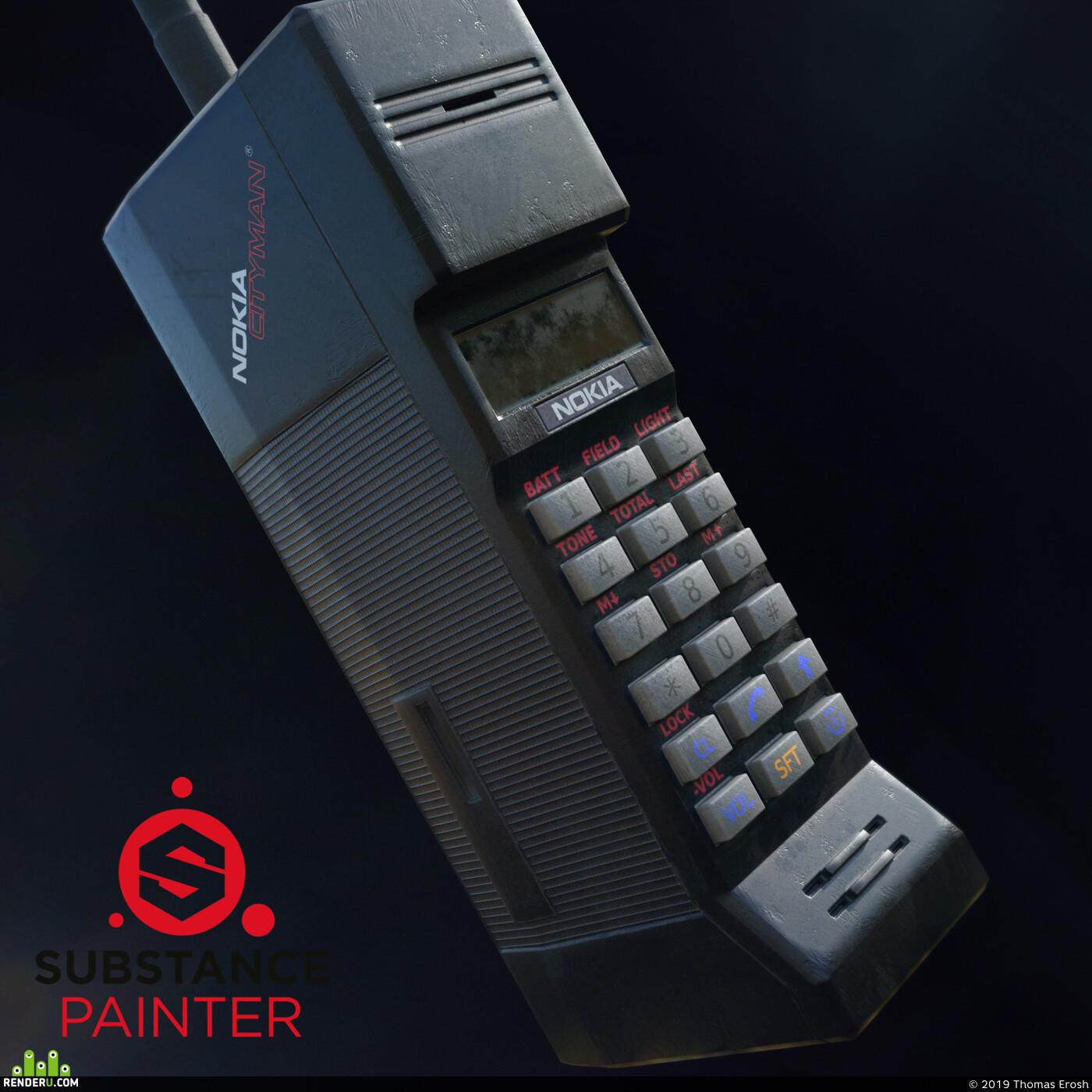 3d, Artist, mobile, Phone, textures, substance, Game prop, Props, tech