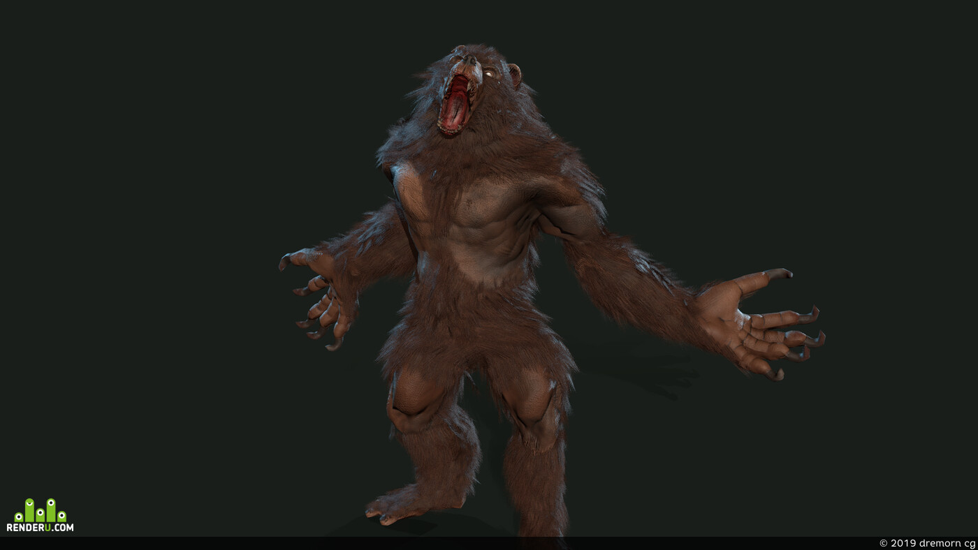 monster, werebear, mutant, bearman, werbear, turnskin, likan, Character, ancient, claws