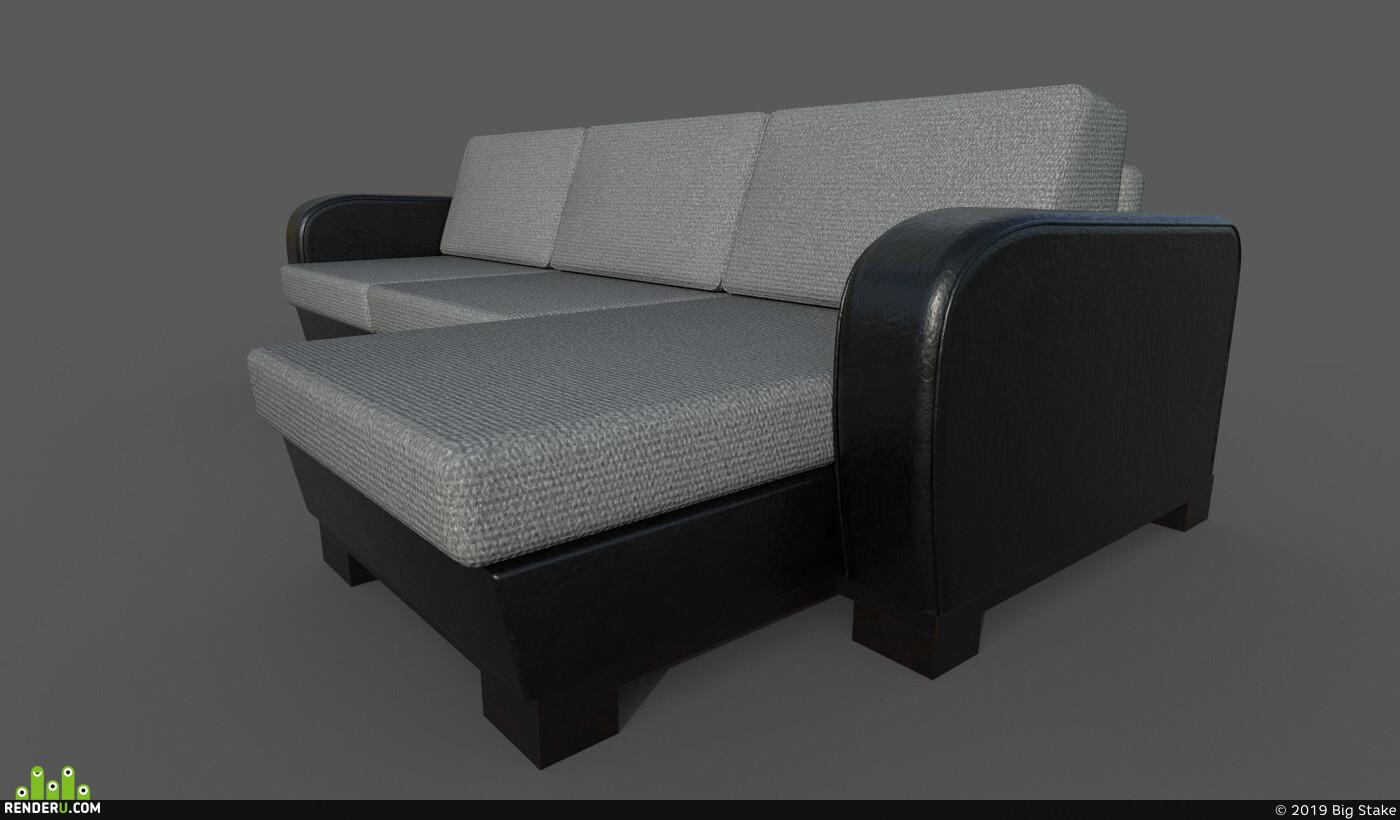 sofa, Leather, Vray, unreal, corner, antique, furniture, Old, sofa-modeling, sofa-interior