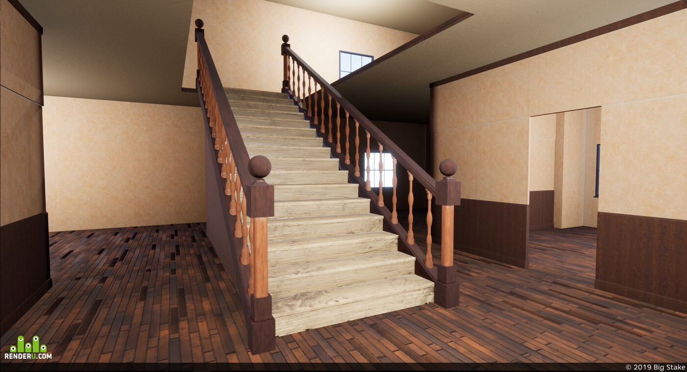 stairway, Vray, Vintage, Old, UnrealEngine, substancepainter, Unity, Architecture, stair, staircase