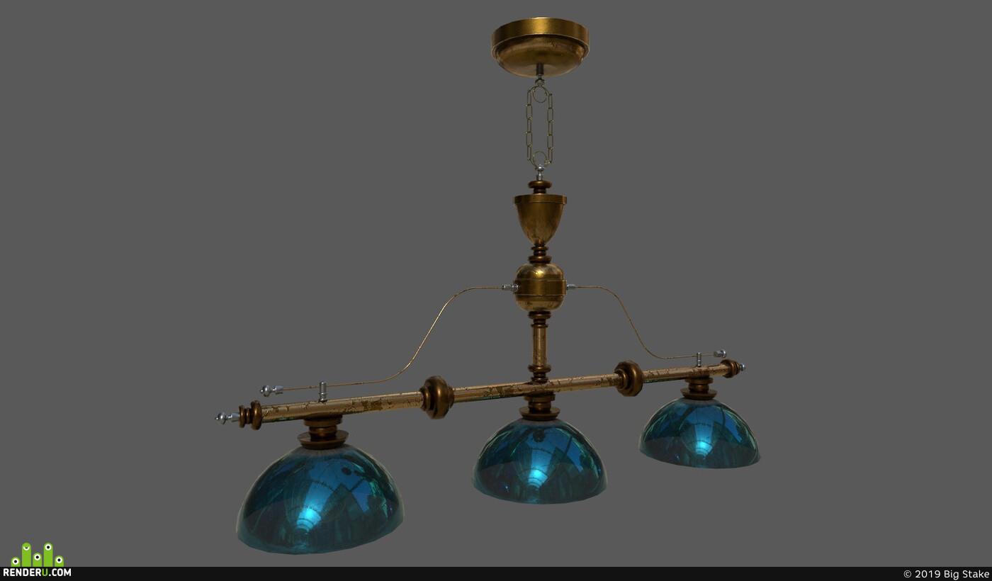 bronze, Vray, chandelier, metal, Props, Old, UnrealEngine, substancepainter, Unity, interior