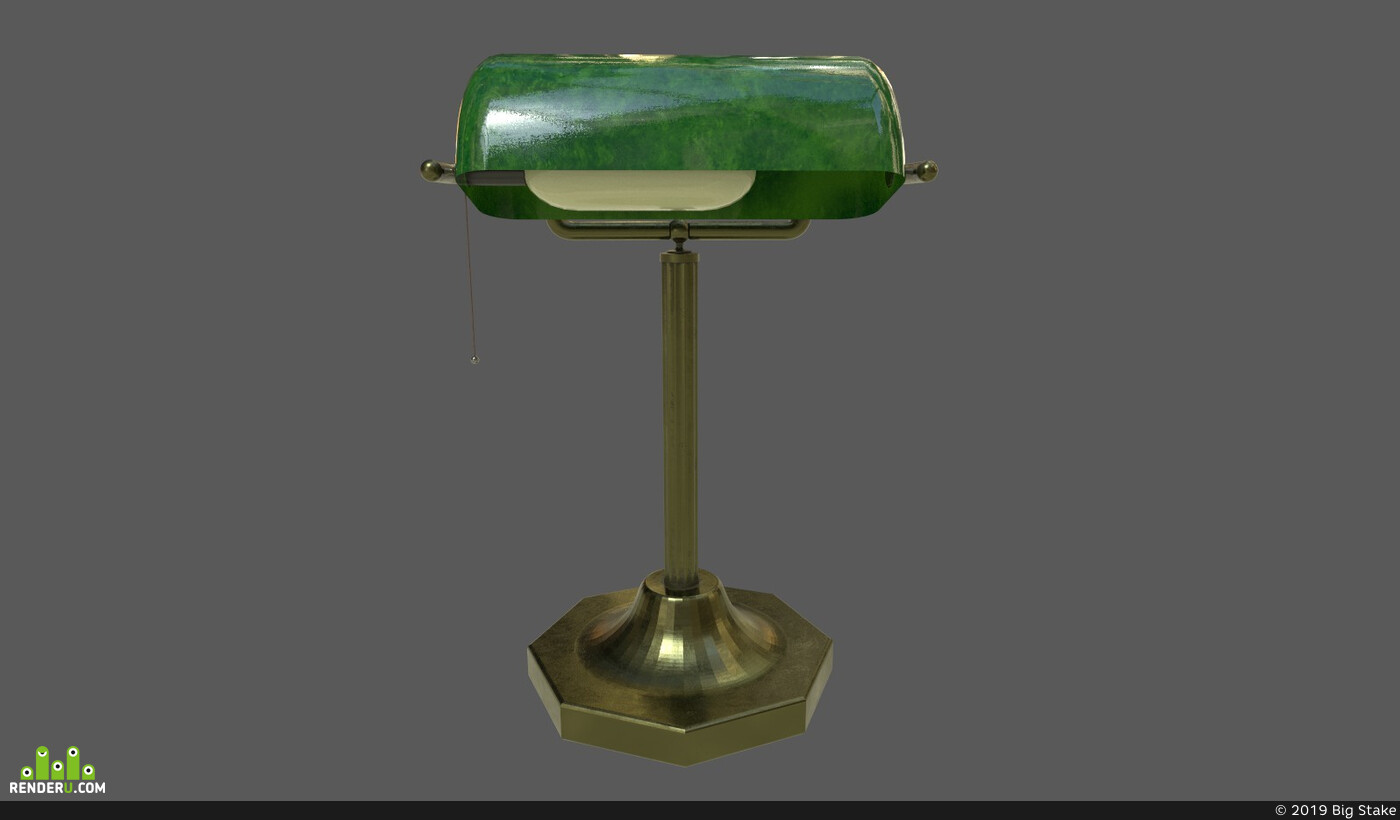 Lamp, bronze, Vray, metal, UnrealEngine, tablelamp, substancepainter, Unity, interior, light