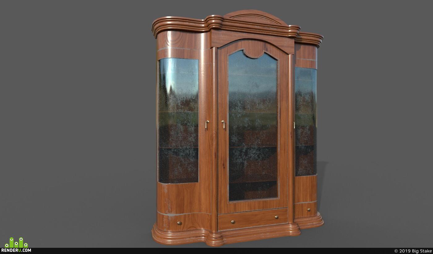 shelf, Vray, chest, unreal, classic, obj, furniture, Old, unrealengine4, substancepainter