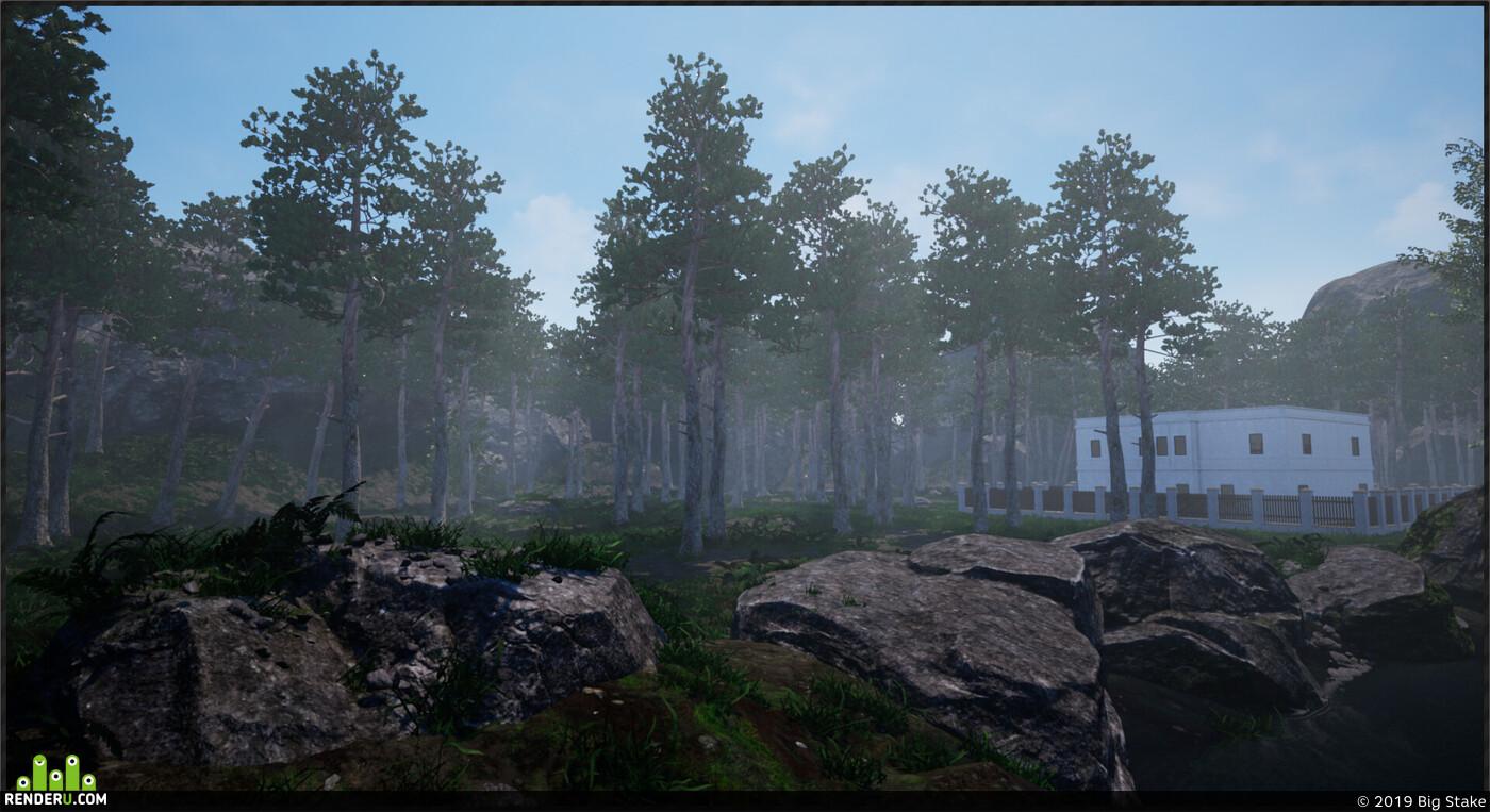 architectural visualization, unreal, Architecture, game, UnrealEngine, Nature, level, location, forest