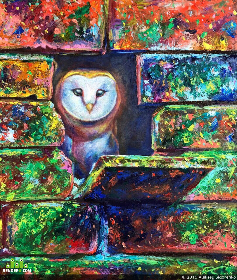 owl, bird, oil, oil painting, art, animal, color, Illustrator, Illustration