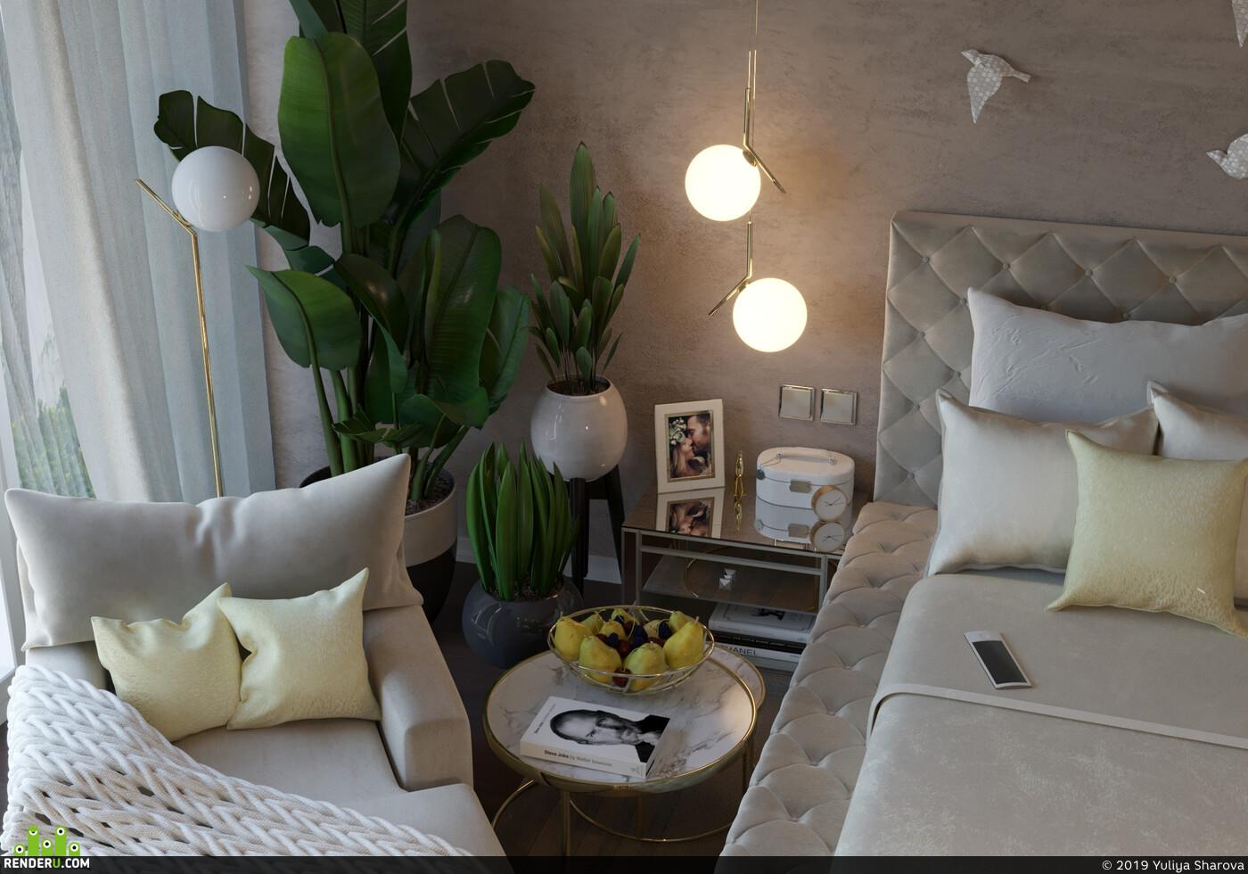 Спальня, зеркальная мебель