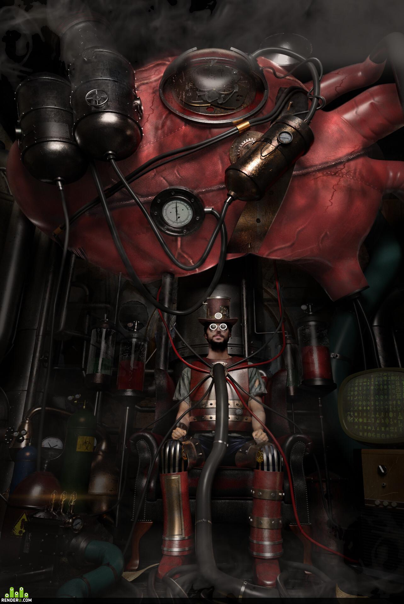 3ds Max, 3dconcept, game concept, concept-art, steam engine, steam punk, coronarender