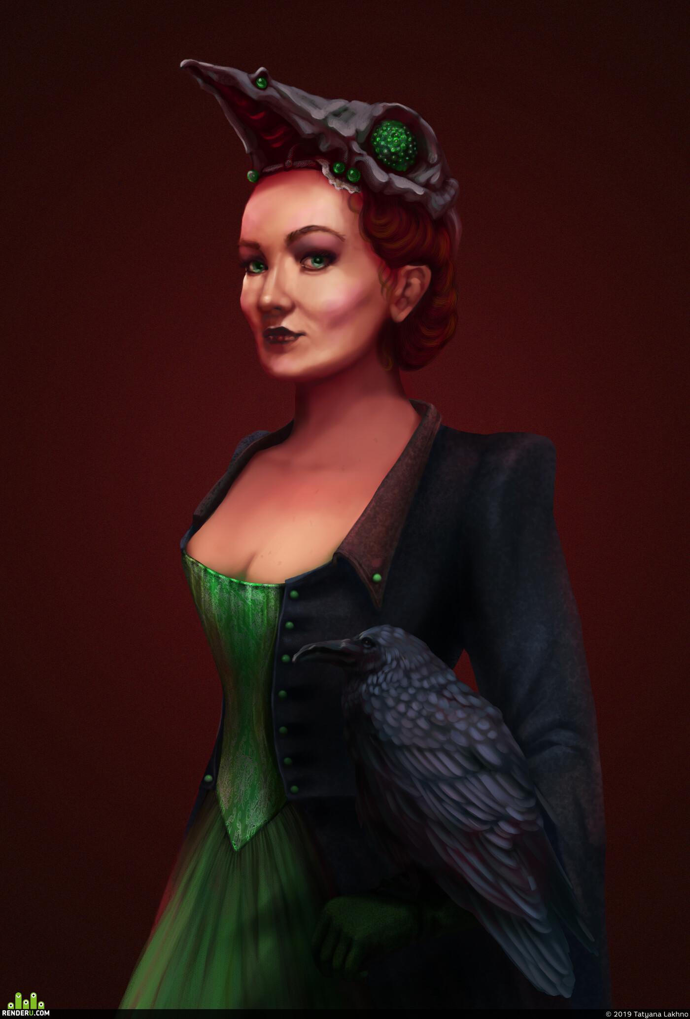 queen, raven, fanart, autodefe, red, green, Dark, doom