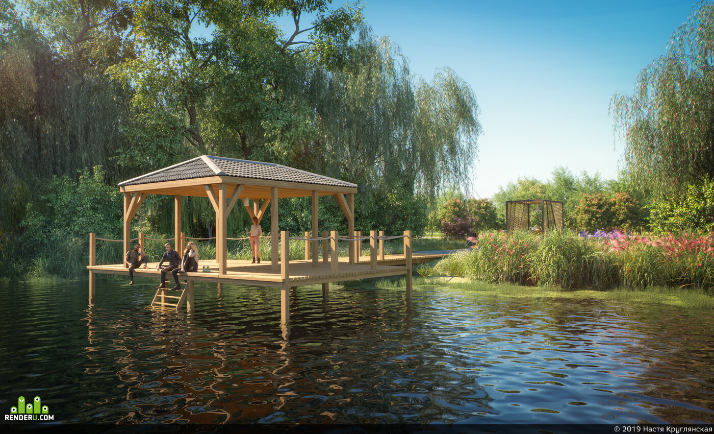 Park, recreation, lake, arbor, hearth, Nature, leisure