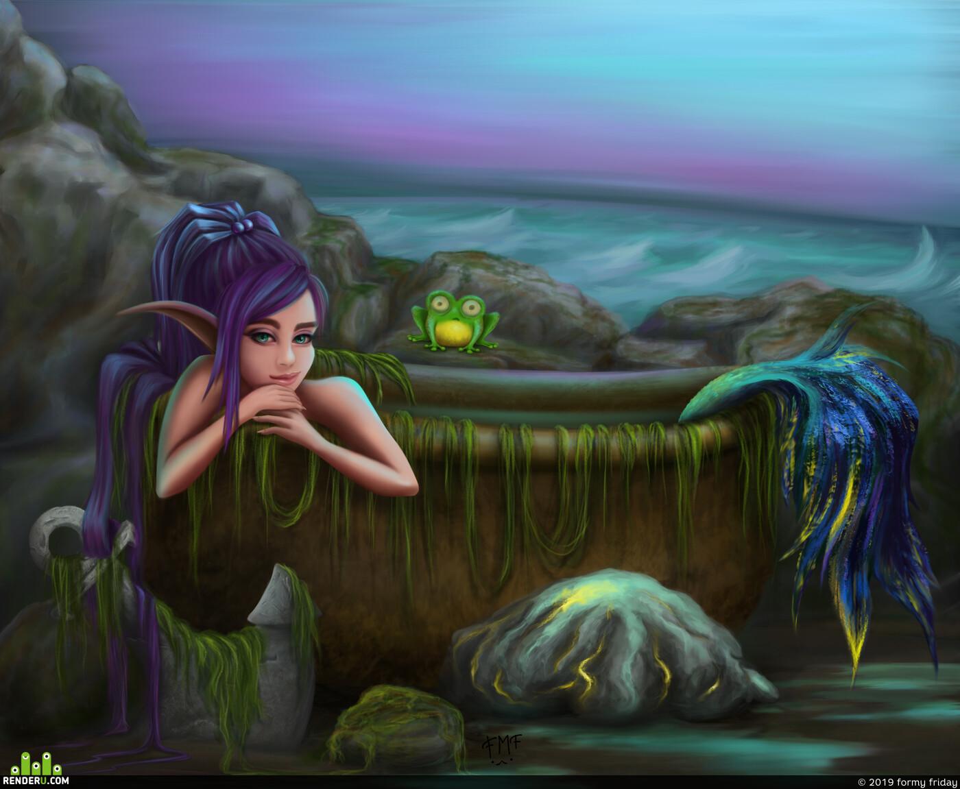русалка, море, скалы, Фэнтезиморе, лягушка, гипножаба, нимфа