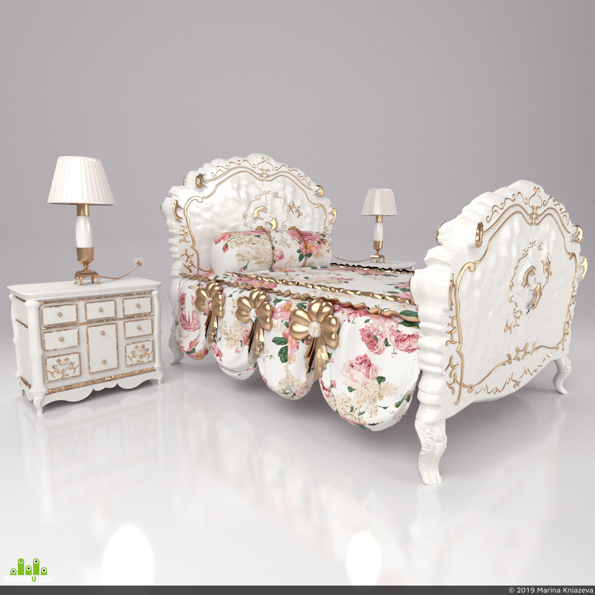 baroque, bed, bedroom, carving, classic, classical, detailed, elegant, empire, exquisite
