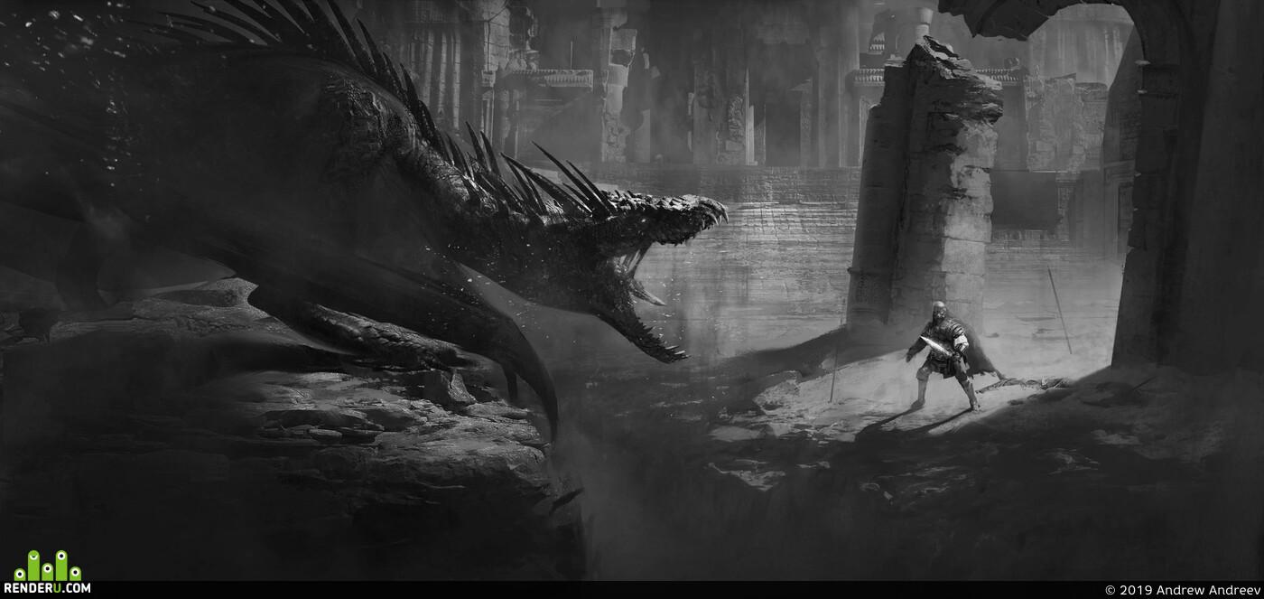 dragon, 2D art, Concept Art