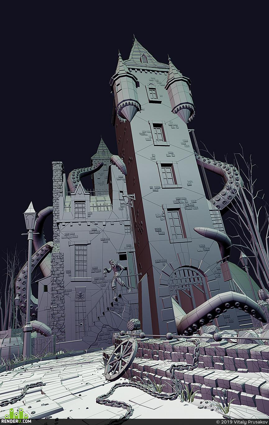 3D Studio Max, cthulhu, Lovecraft, octopus