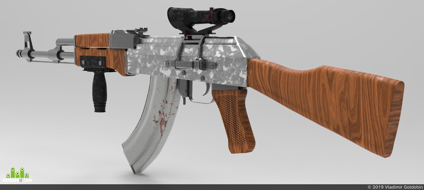 оружие, автомат, ак-47, 3d модель
