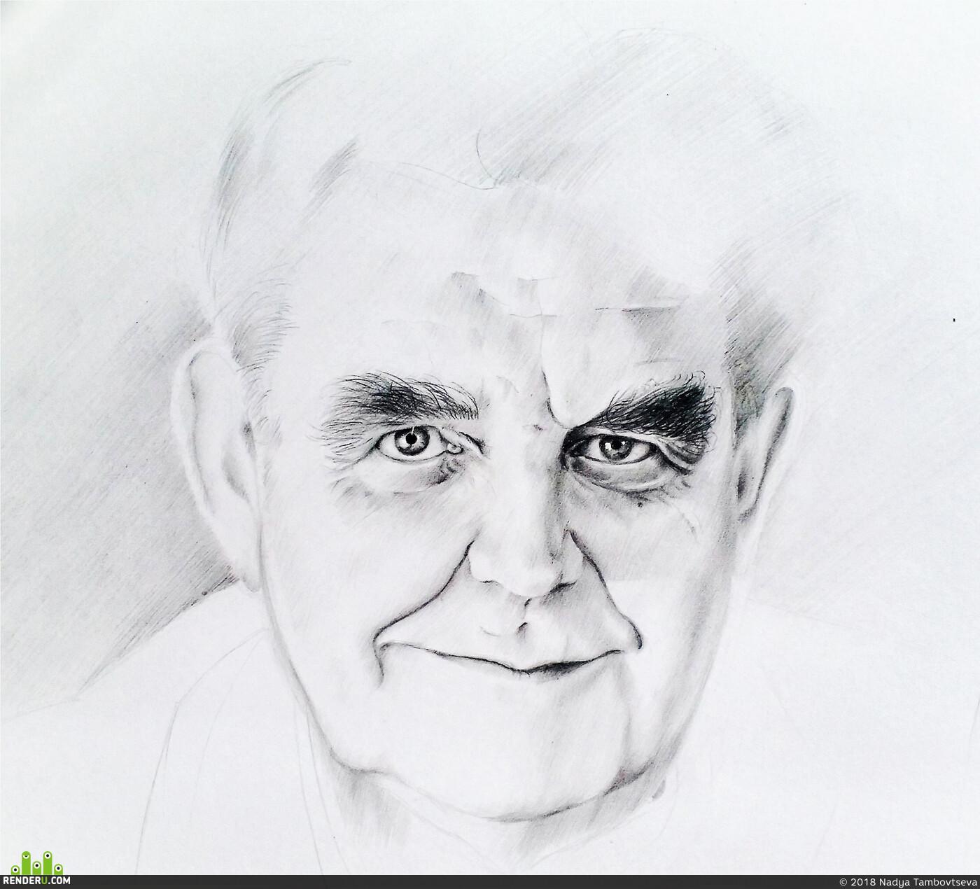 Портрет, карандаш, глаза, дедушка