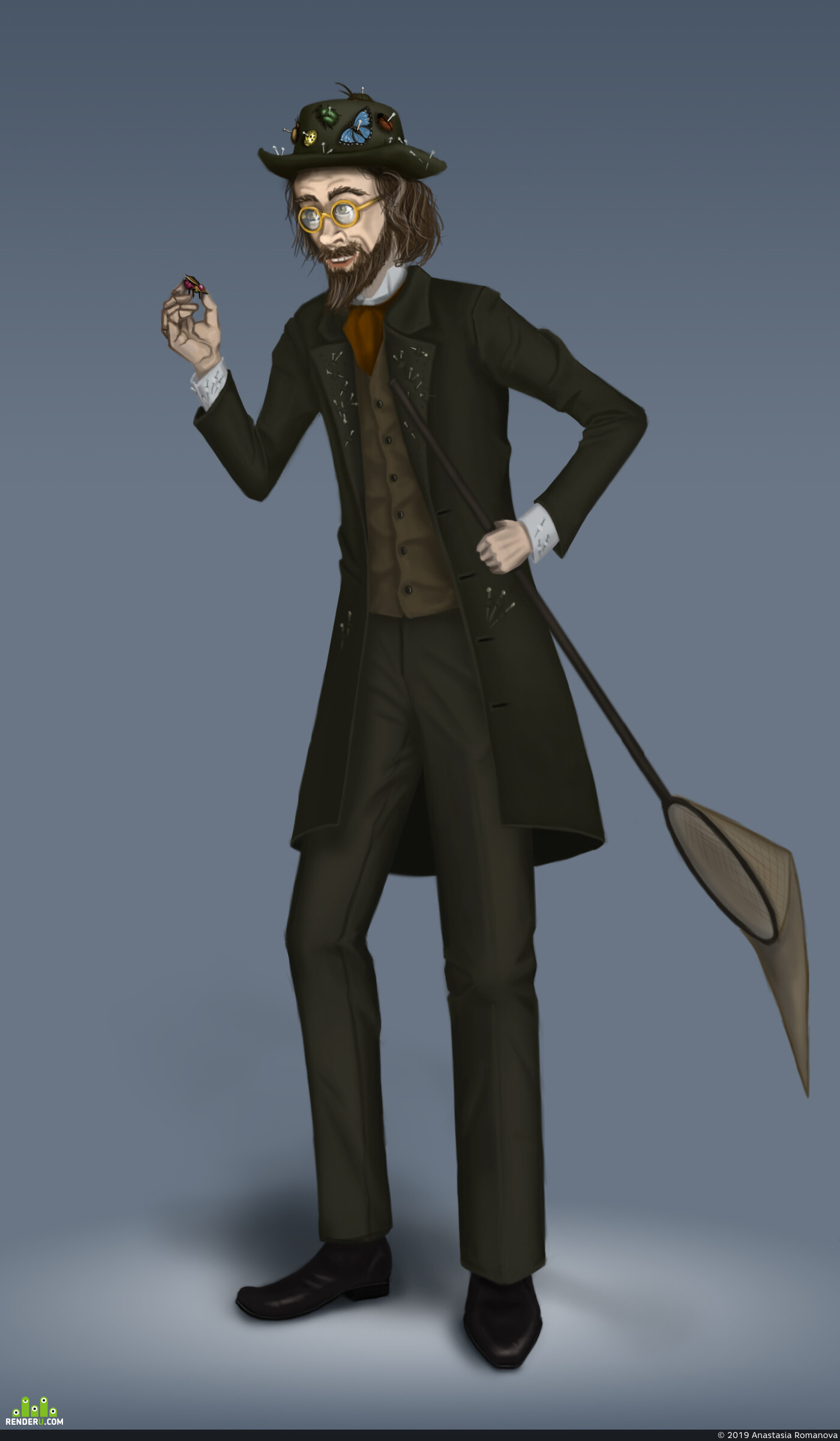 Digital 2D, Characters, Concept Art, fanart, character design, scientist, scattered, 19th century, Jules Verne
