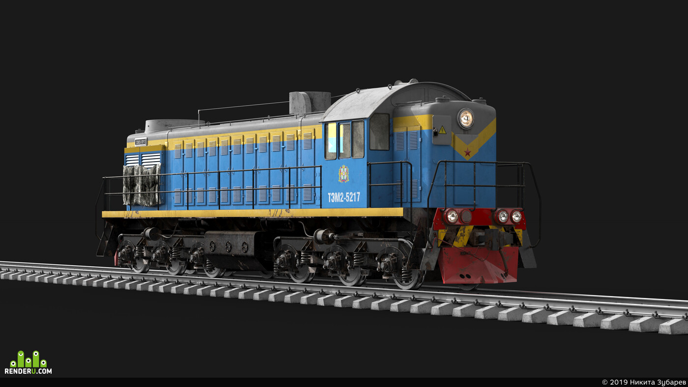 train, 3d, art, PBR, substance painter, USSR.