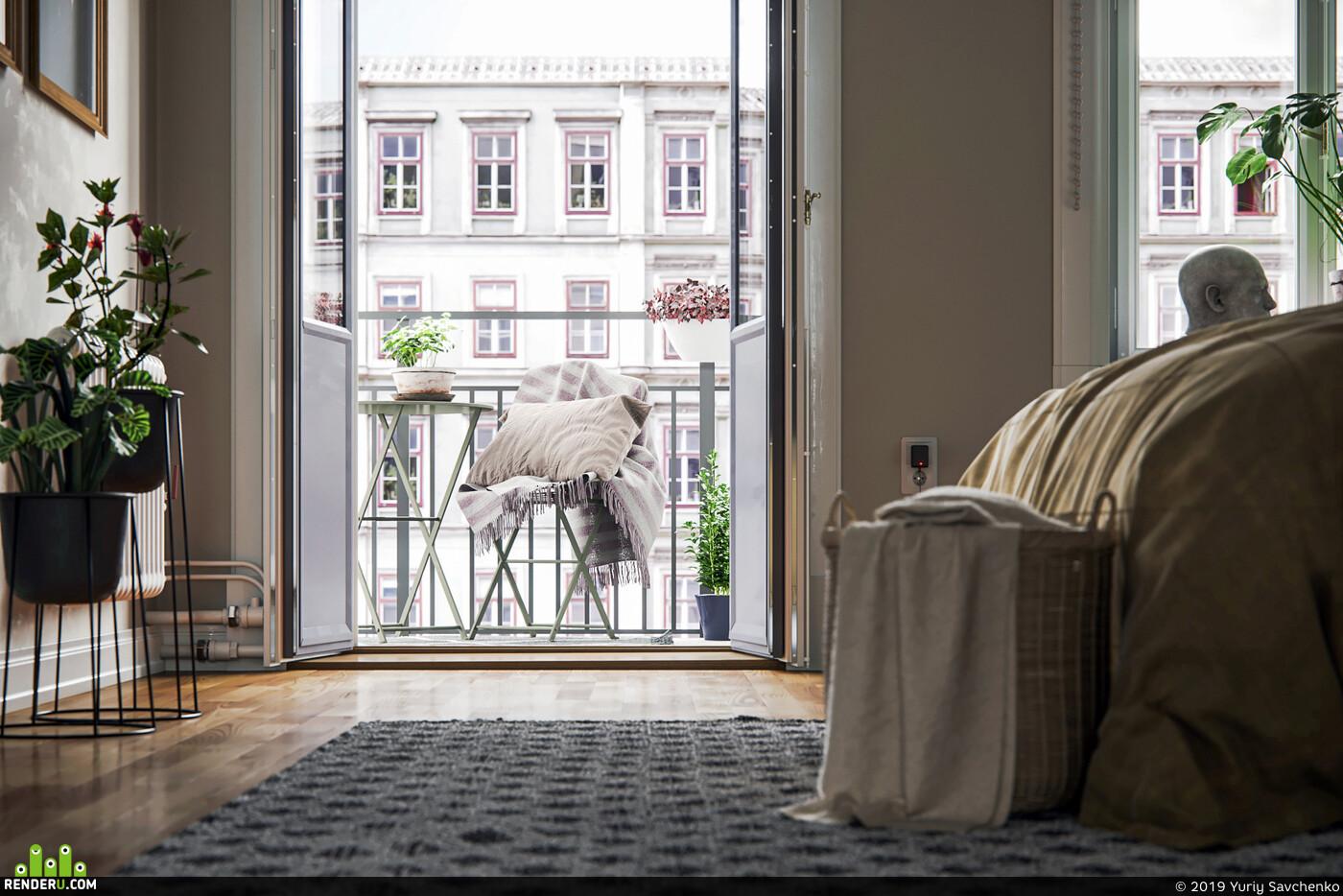 apartment, cgi, cgipark, sweden, gothenburg, bedroom, scandinavian, interior design