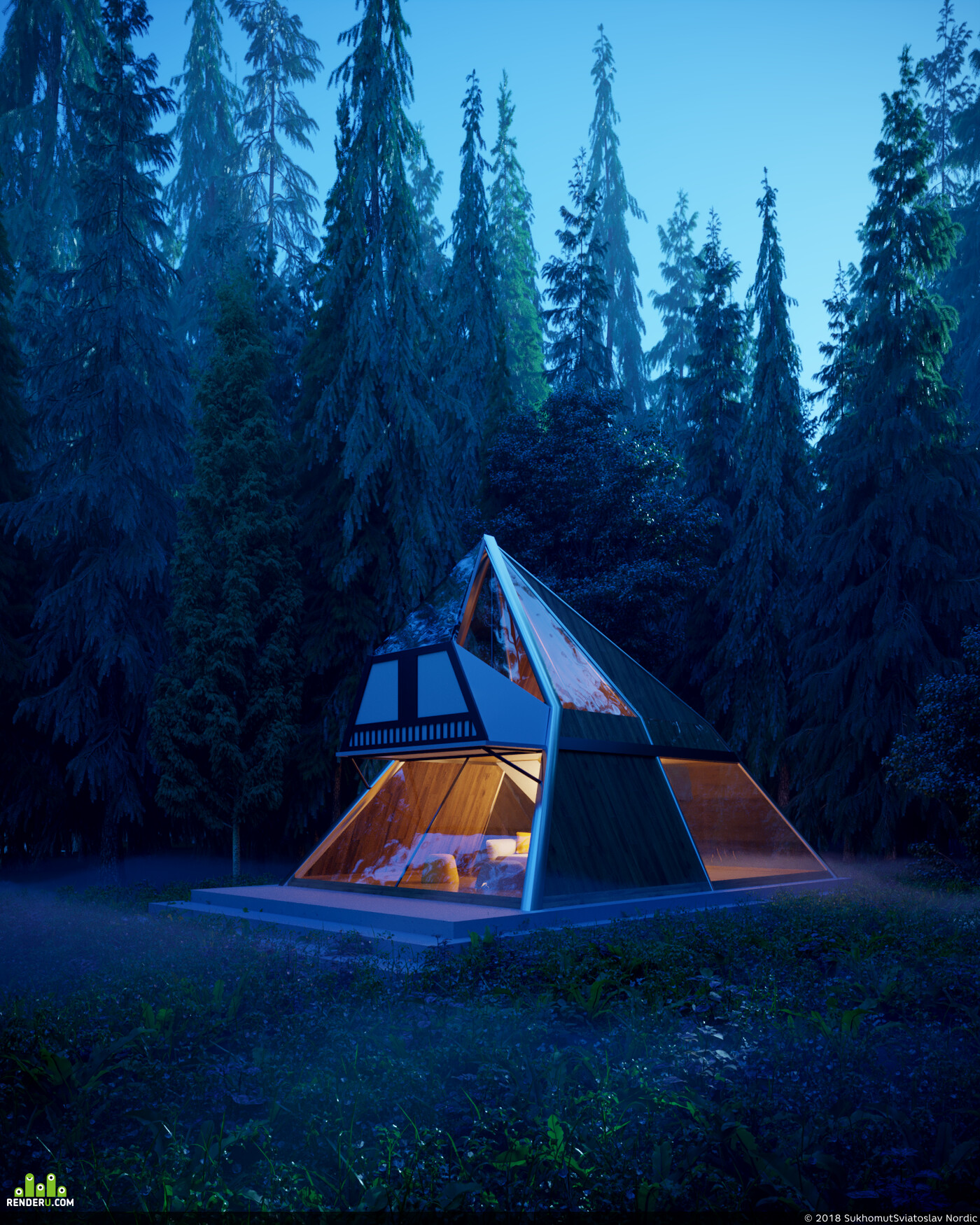 архитектура, 3D архитектура, архитектурная визуализация, архитектурная концепция, лес, приключения
