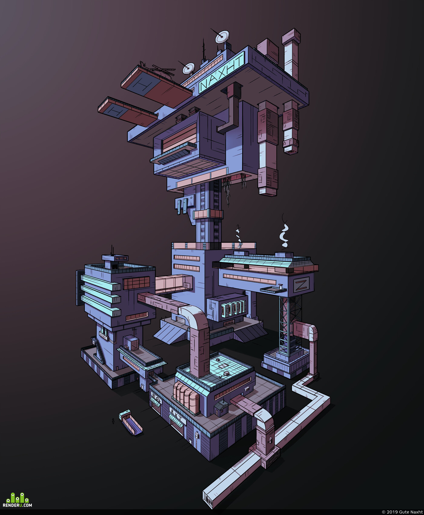 Концепт-арт, архитектура, здание, завод, дизайн