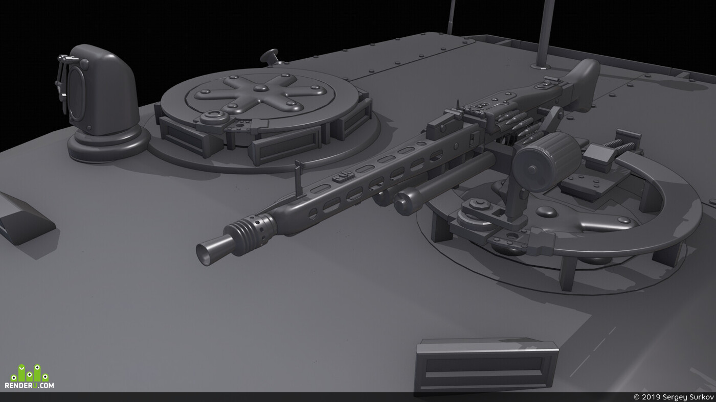 tank, weapon, leopard, high poly