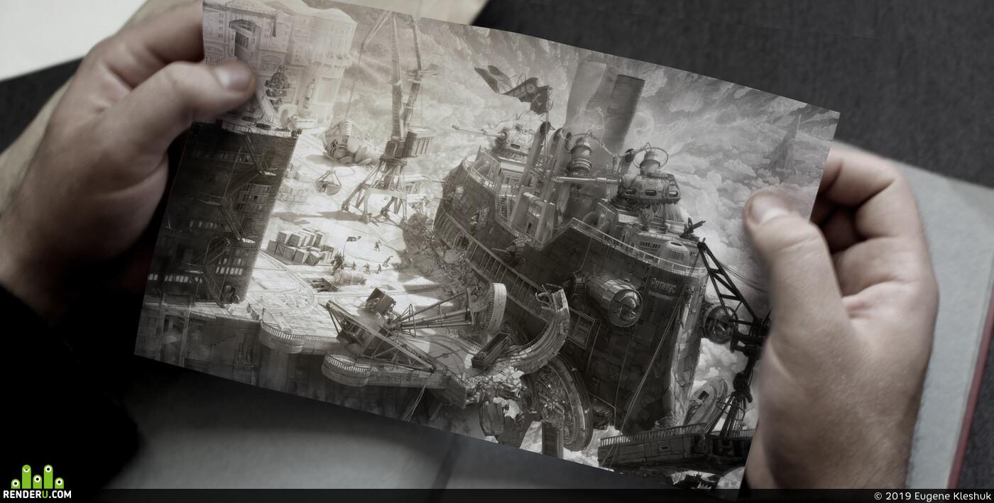 Dieselpunk, island, pirates, zero gravity