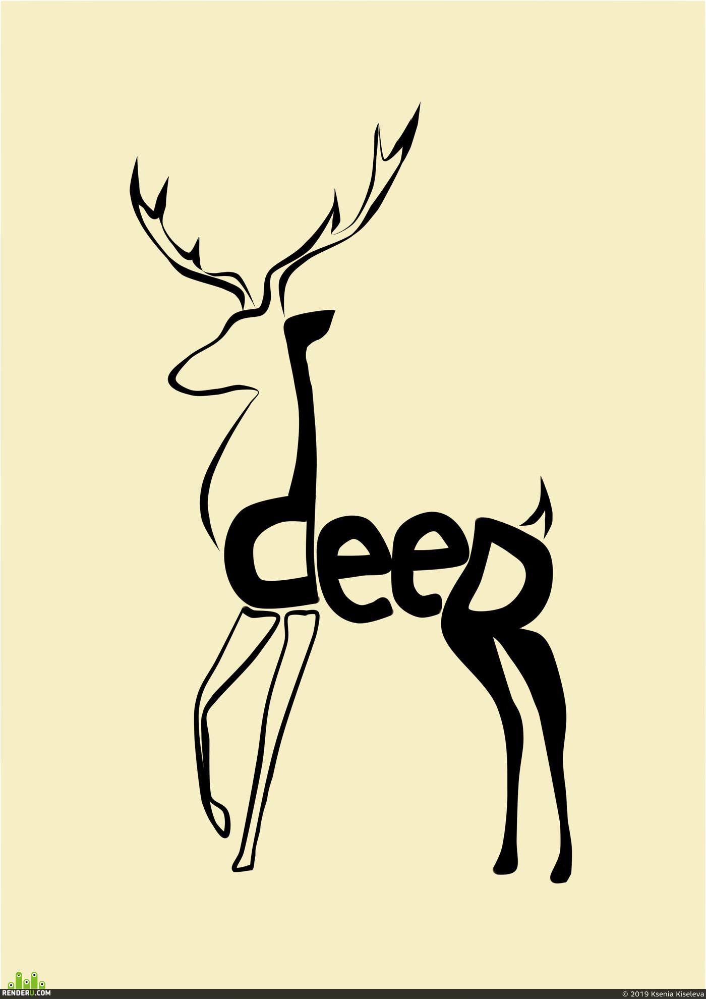 art, 2D art, Deer