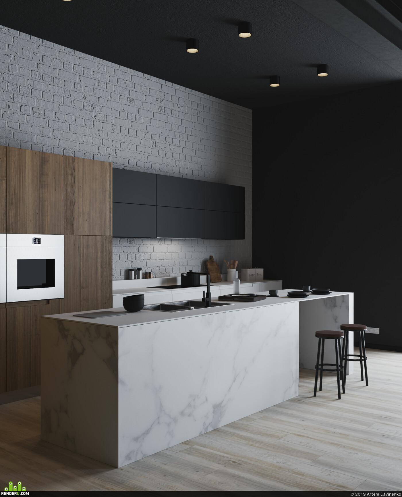 дизайн интерьера, Интерьерная визуализация, лофт, кухня-гостиная, кухня, 3д визуализация