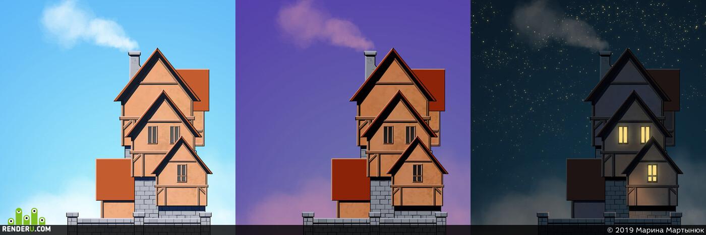 дом, время суток, 2dart