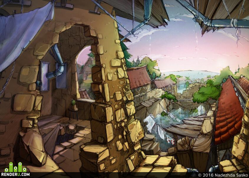 руины, крыши, море