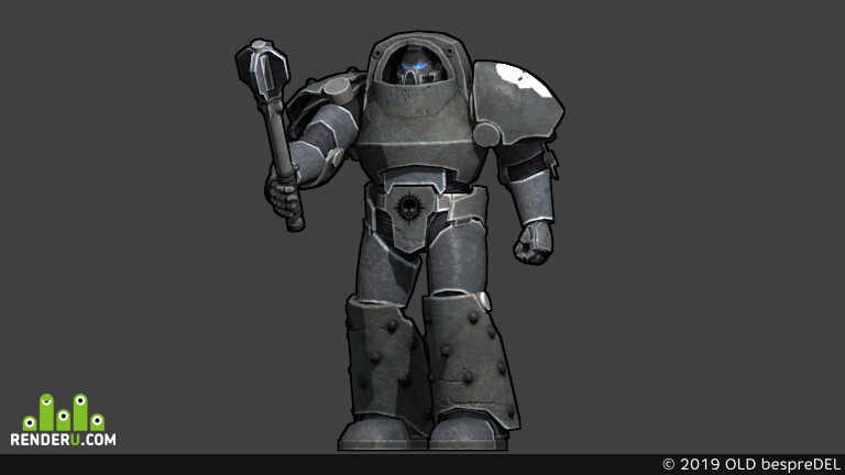 Astartes, Heresy Iron Warrior, Warhammer 30k, 3D Animation, commander, mace, armor tartaros