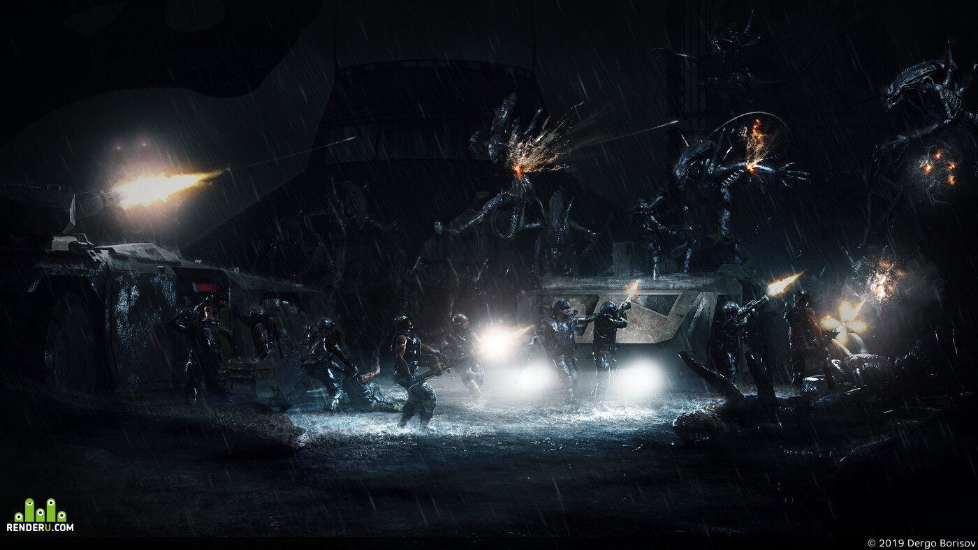 aliens, xenomorph, battle