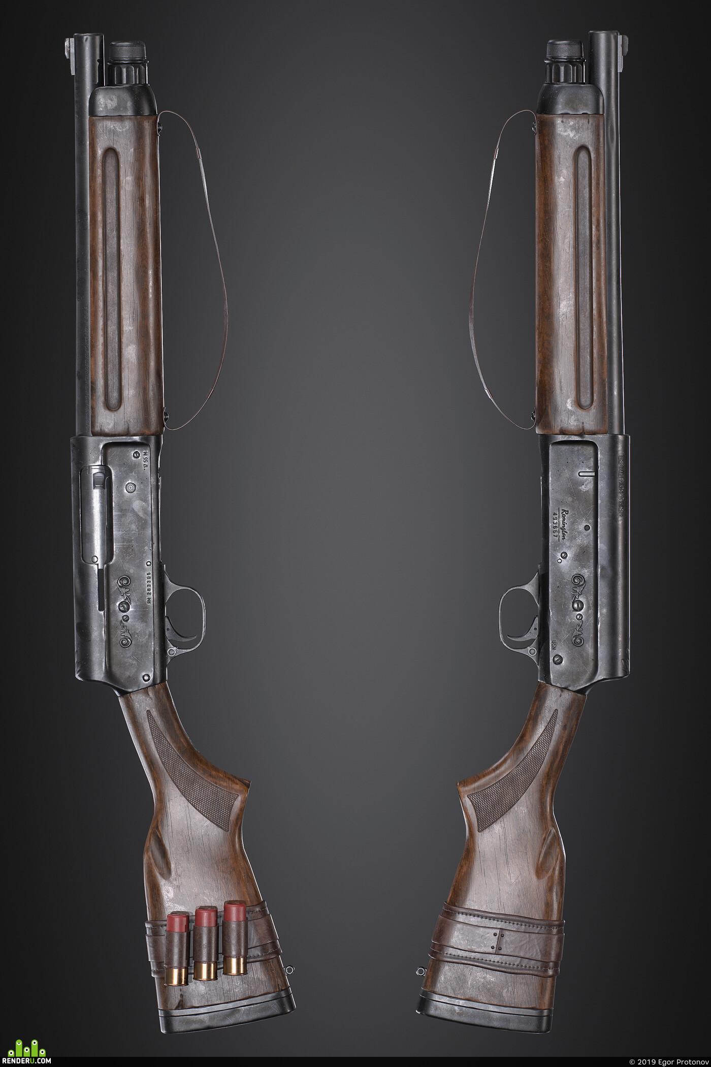 3d, game, art, Компьютерная графика/CG, shotgun, remington, weapon, gun, modeling