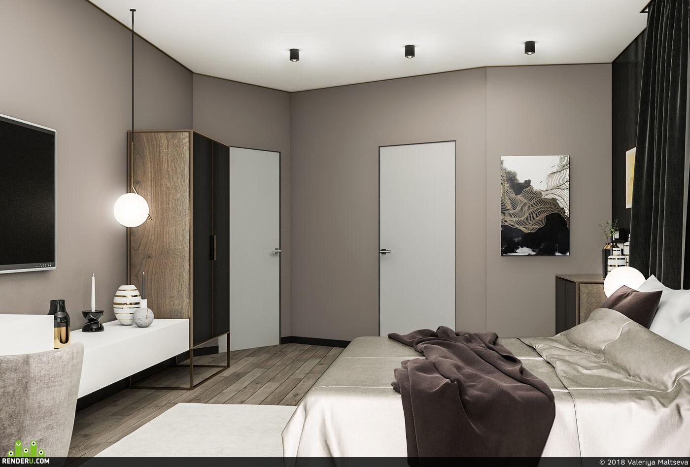 Спальня, дизайн интерьера спальни, 3D Studio Max, современный стиль, Визуализация, 3д визуализация