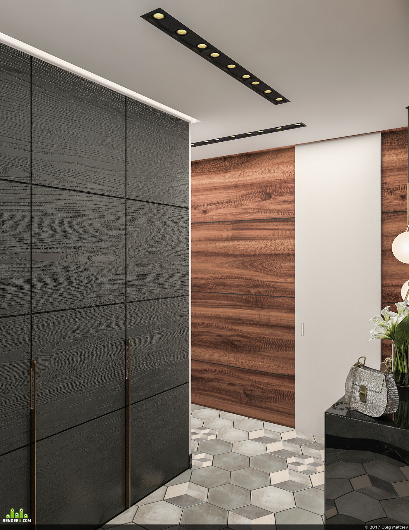 прихожая, интерьер, дизайн интерьера, Визуализация, 3д визуализация, 3D Studio Max