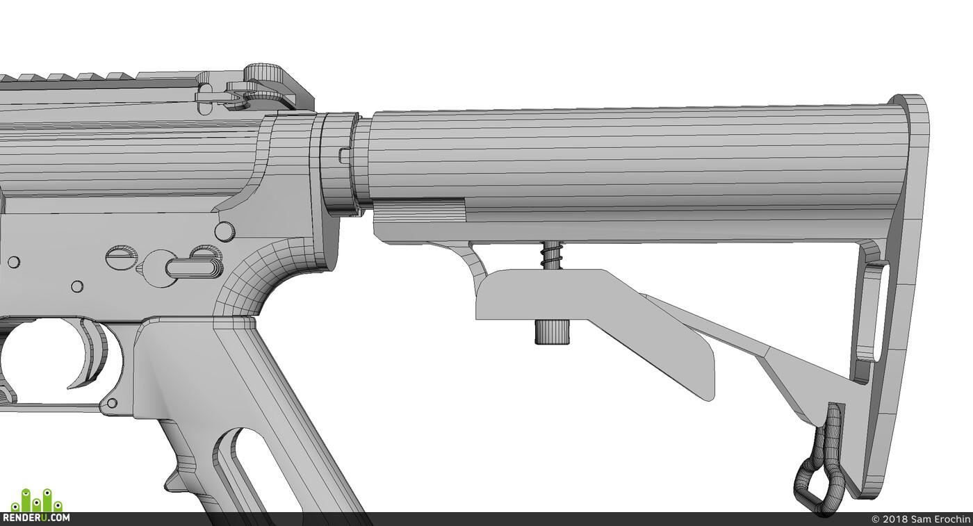 Ar15, M16, оружие, игра, полная, деталировка, автомат, винтовка