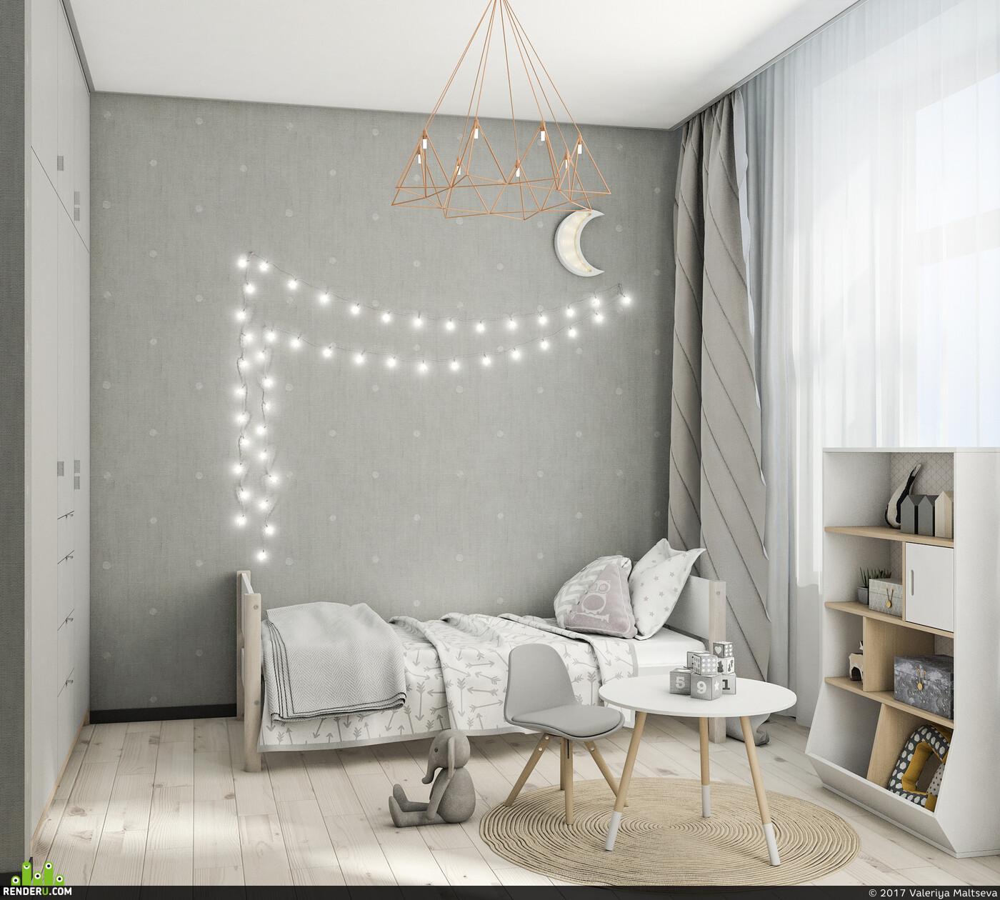 детская комната, дизайн интерьера, 3д визуализация, 3D Studio Max, дизайн детской
