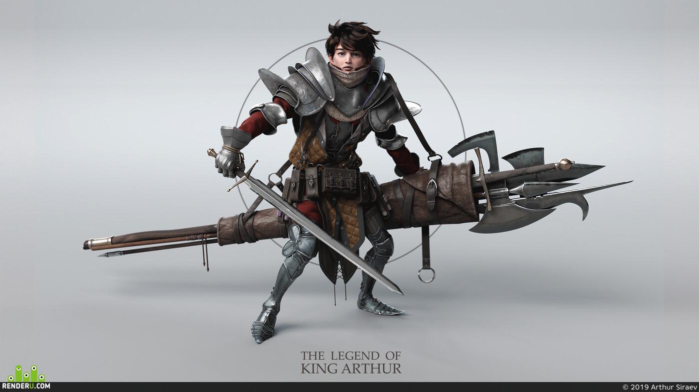 персонаж, доспехи, рыцарь, король, asiraev