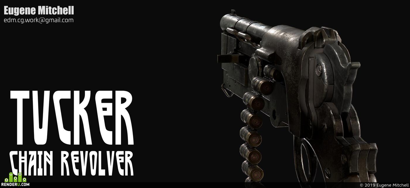 оружие, лоуполи, револьвер, стимпанк, Пушка, ассет