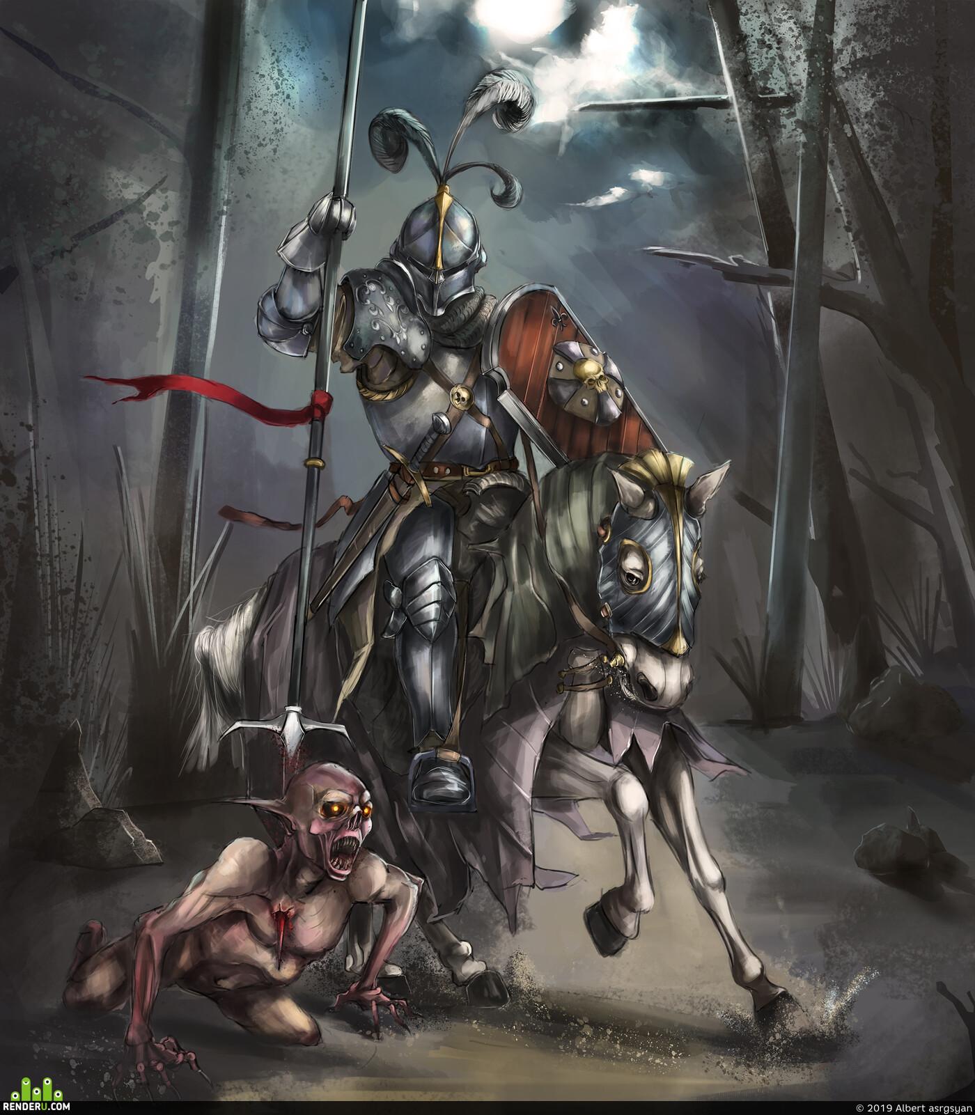 Fantasy, knight, horse, ghul