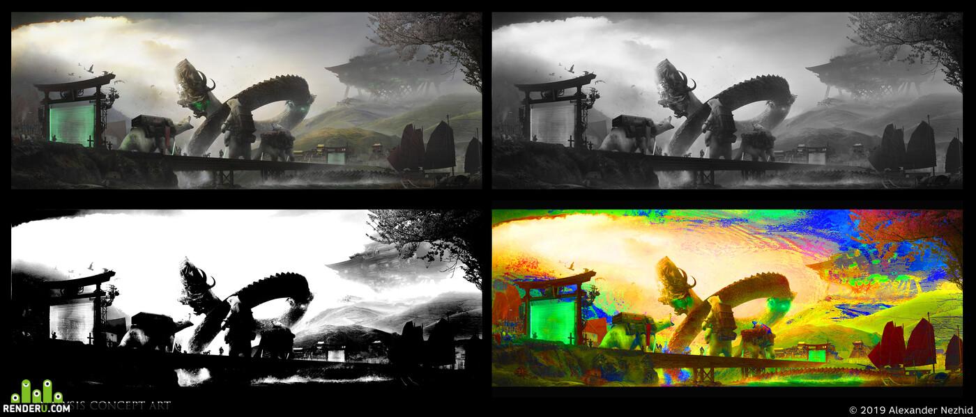 concept concept-art enveropment environment desigh Matte painting Photoshop Digital 2D DIgital painting digitalart Fantasy, Matte Painting, dragon, polar bear, Fantastic Beasts, Adobe Photoshop